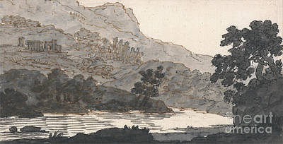 Ruin Painting - River And Mountain With Ruins by Celestial Images