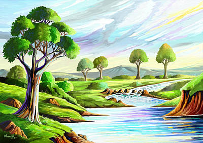 Painting - River And Trees by Anthony Mwangi