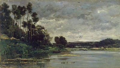 Duck Painting - River Bank by Charles-Francois Daubigny