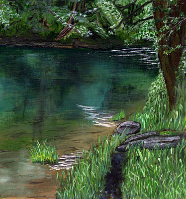 Painting - River Bank by Sara Stevenson