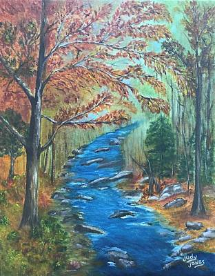 River Rafting Painting - River Bend In Autumn by Judy Jones
