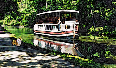 Art Print featuring the digital art River Boat With Welsh Corgi by Kathy Kelly