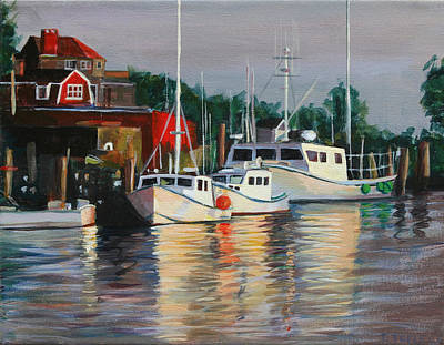 Painting - River Boats by Trina Teele