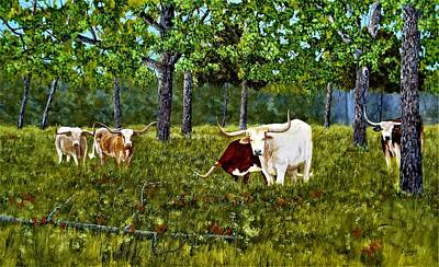 Painting - River Bottom Longhorns  by Michael Dillon