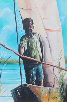 Painting - River Boy by Henry Blackmon