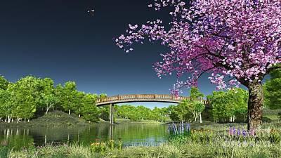 Digital Art - River Bridge Cherry Tree Blosson by Walter Colvin