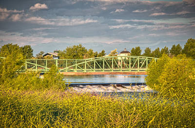 Photograph - River Bridge With Flowers by Connie Cooper-Edwards