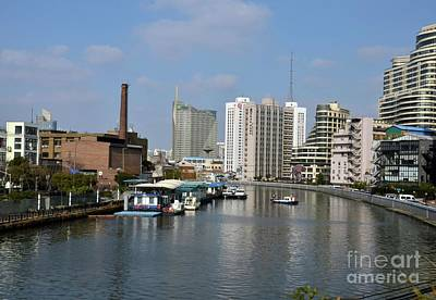 Photograph - River Canal With Utility Boat Chimney And Tall Buildings Shanghai China by Imran Ahmed