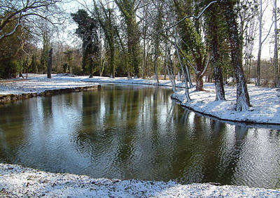 River Cherwell Meandering Through Christ Church Meadows Oxford Uk. Print by Mike Lester