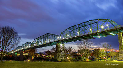 Photograph - River City Bridges Walnut Street Pedestrian Bridge Chattanooga Tn by Reid Callaway