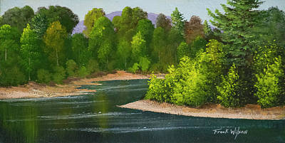 Fishing In Stream Painting - River Confluence by Frank Wilson