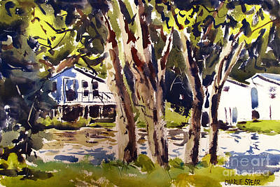Painting - River Cottages Framed Matted Glassed by Charlie Spear
