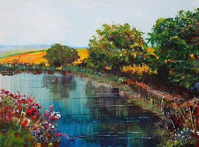 Painting - River Exe Devon Landscape - When The Weathers Fine by Mike Jory