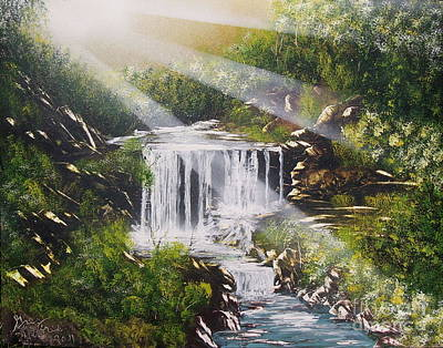 Painting - River Falls by Greg Moores