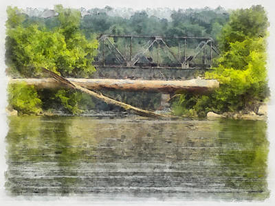 Canoe Digital Art - River Float by Teresa Henry