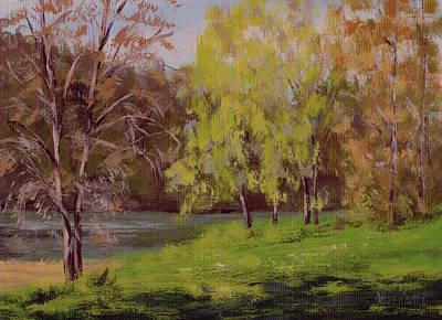 River Forks Spring 2 Art Print by Karen Ilari