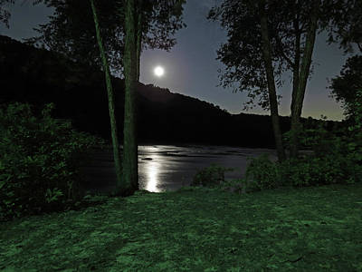 River In Moonlight Art Print