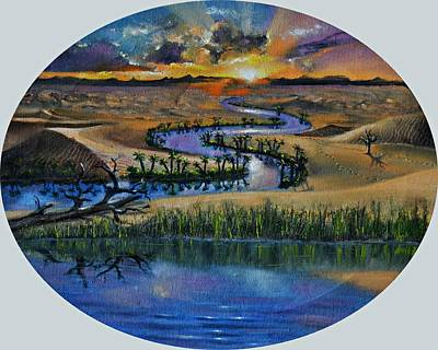 Sanddunes Painting - River In The Desert by Praisey Peter