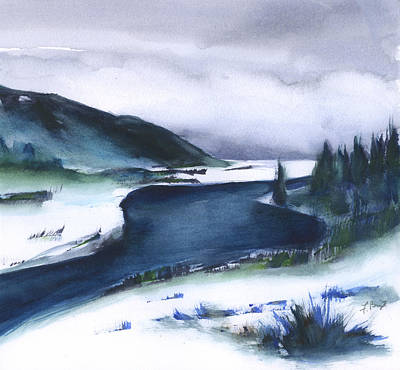 Painting - River In Winter by Frank Bright