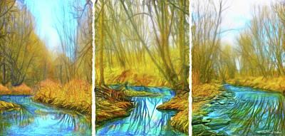 Digital Art - River Journey Vistas - Triptych by Joel Bruce Wallach