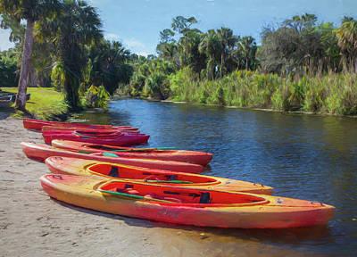 Photograph - River Kayaks by Debra and Dave Vanderlaan
