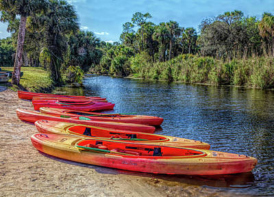 Photograph - River Kayaks In Colorful Hdr by Debra and Dave Vanderlaan