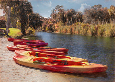 Photograph - River Kayaks Painting by Debra and Dave Vanderlaan