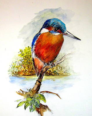 Painting - River Kingfisher by Jason Sentuf