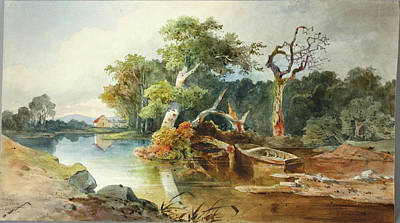 Altmann Drawing - River Landscape by Anton Altmann the Younger