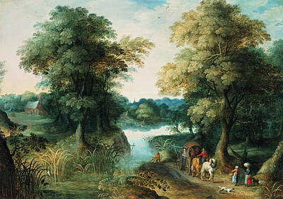 Horse-drawn Painting - River Landscape by Pieter the Elder Bruegel