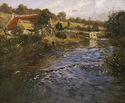 River Landscape With A Washerwoman  Art Print by Fritz Thaulow