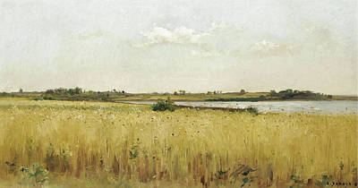 Pierre Emmanuel Eugene Damoye Painting - River Landscape With Cornfield by Pierre Emmanuel Eugene Damoye