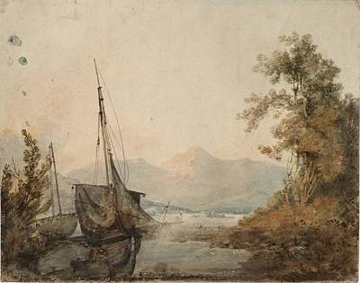 Distant Mountains Painting - River Landscape With Distant Mountain by Joseph Mallord