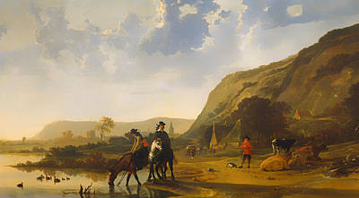 Netherlands Painting - River Landscape With Riders by Mountain Dreams