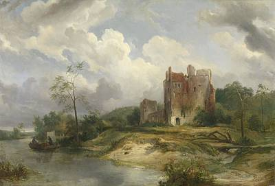 Ceramics Painting - River Landscape With Ruin Wijnand Nuijen 1835 by Celestial Images