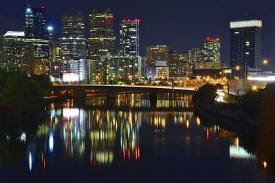 Photograph - River Night View Of Philly by Frozen in Time Fine Art Photography