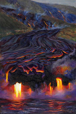 Volcano Painting - River Of Fire - Kilauea Volcano Hawaii by Karen Whitworth
