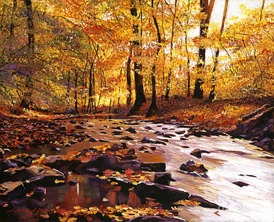 Fallen Leaf Painting - River Of Gold by David Lloyd Glover
