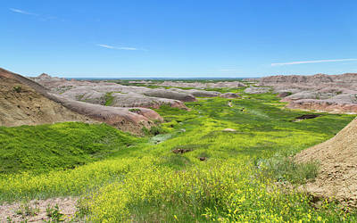 Photograph - River Of Green At The Badlands by John M Bailey