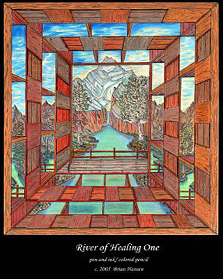 Corporate Art Drawing - River Of Healing One by Brian Hansen