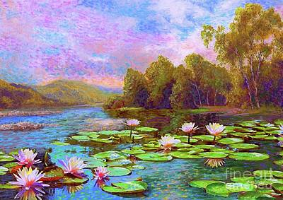 Silver Turquoise Painting - The Wonder Of Water Lilies by Jane Small
