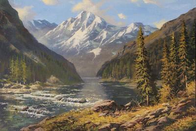 Graphics Painting - The Mountain River by Oleg Khoroshilov