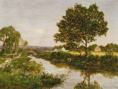 Riviere Painting - River On The Outskirts Of Quimper by Eugene Louis Boudin