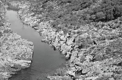 River On The Rocks. Bw Version Art Print