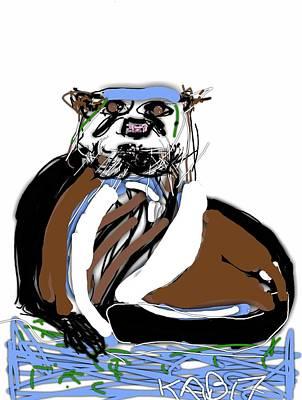 Otter Digital Art - River Otter Stare by Kathy Barney