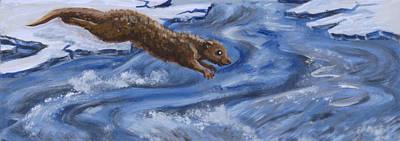Painting - River Otter Wildlife Vignette by Dawn Senior-Trask