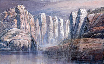 Drawing - River Pass Between Barren Rock Cliffs by Edward Lear