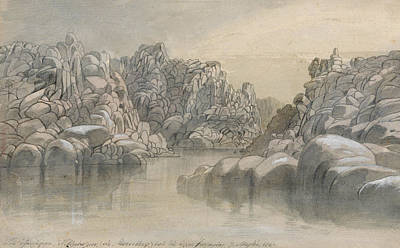 Drawing - River Pass Between Semi Barren Rock Cliffs by Edward Lear