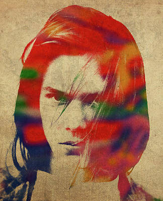 Phoenix Mixed Media - River Phoenix Watercolor Portrait by Design Turnpike