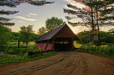 Digital Art - River Road Covered Bridge At Sunset by Donna Doherty